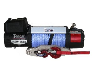 Лебедка автомобильная электрическая T-MAX HEW-9500 X Power с синтетическим тросом 01636