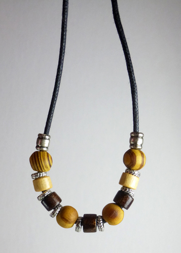 Mens Wood Bead Necklace