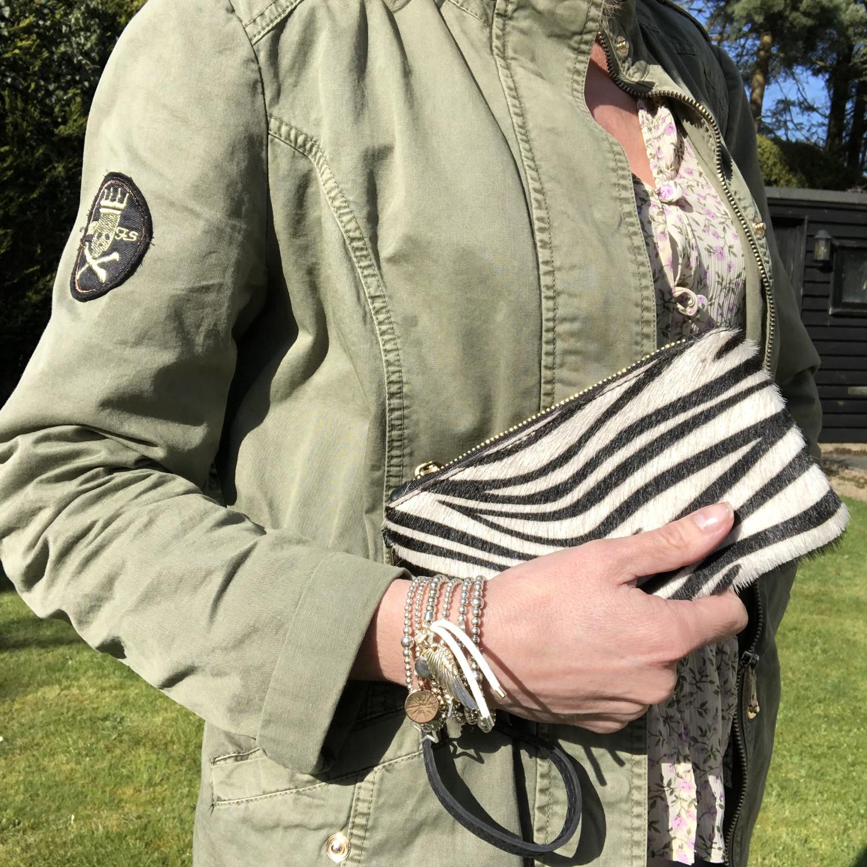 Leather Zebra Wristlet
