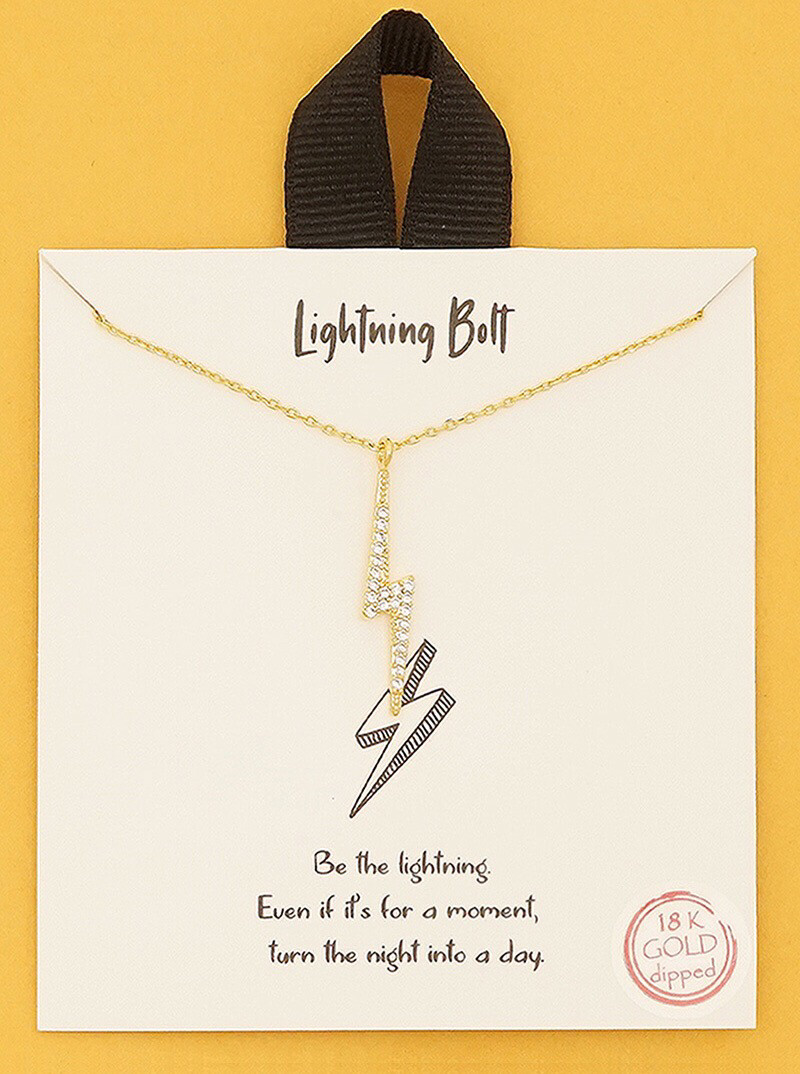 Lightening Bolt Necklace Gold