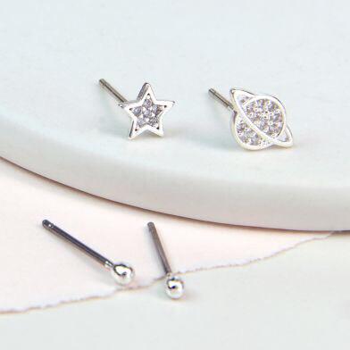 Star/Saturn Crystal Double Earrings