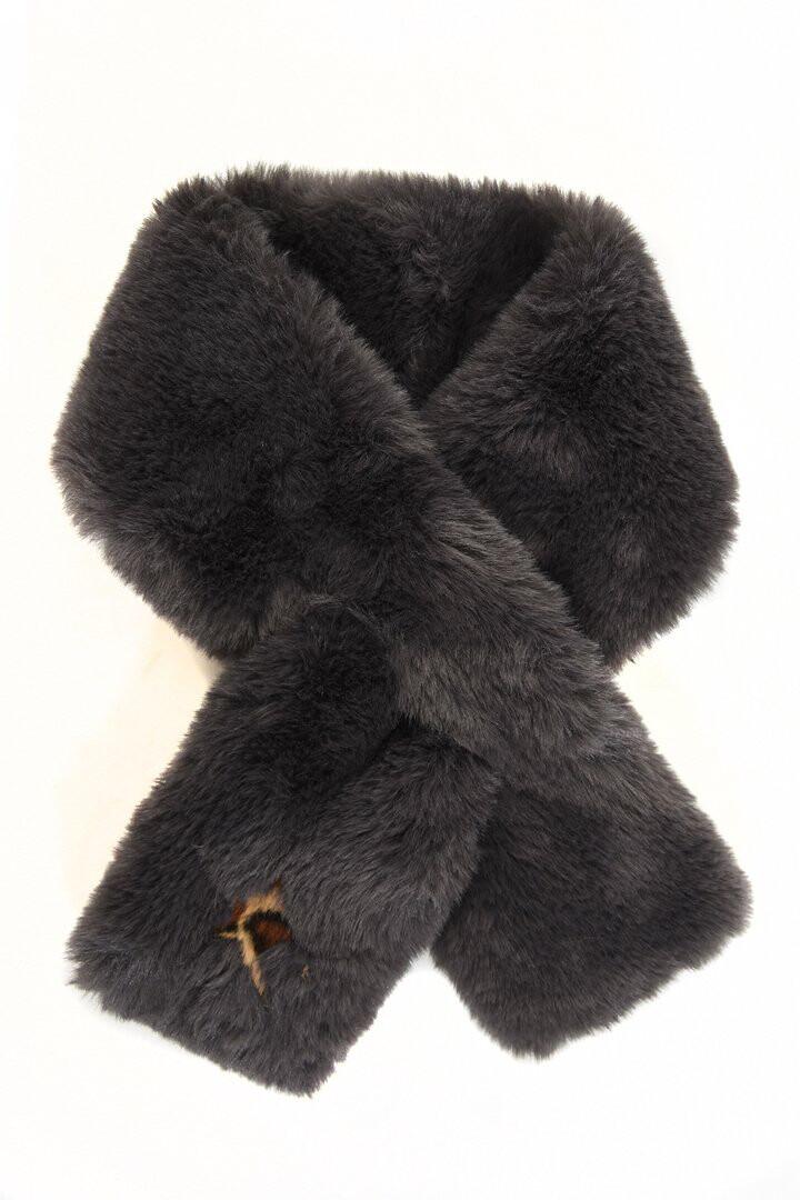 Dark Grey Faux Fur Collar With Leopard Star