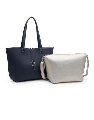 Mia Two in One Tote Silver