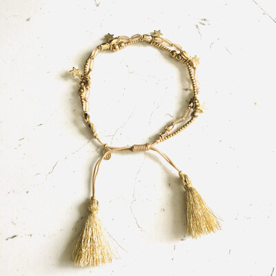Oboe Gold Double Strand Star Bracelet