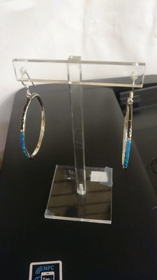 ** for Art **  Sterling Silver Earrings with Onyx & Opal inlay