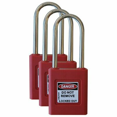 Keyed Alike RED Safety Padlock - Set of 3 (Registered) SLP-450-RED-KANH