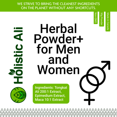 Herbal Powder for Men and Women Blend - Tongkat Ali 200:1, and mixed Maca 0.6% Extract, Epimedium Extra Strength 30g