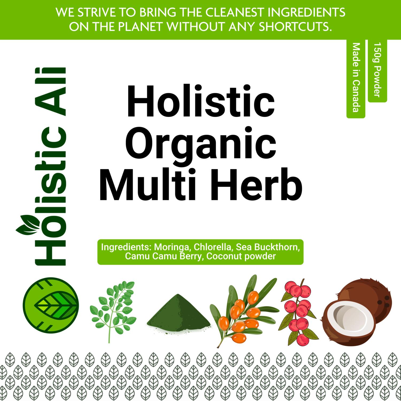 Holistic Organic Multi - Ingredients: Moringa, Chlorella, Sea Buckthorn, Camu Camu Berry, Coconut powder 150g