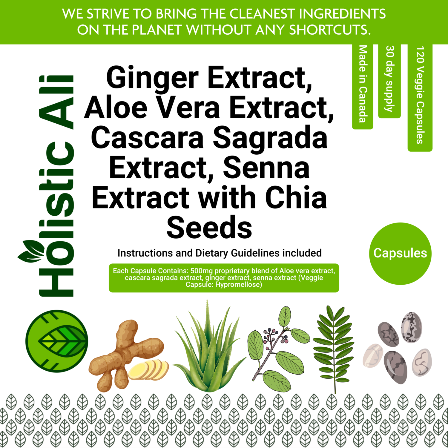 Ginger Extract, Aloe Vera Extract, Cascara Sagrada Extract, Senna Extract 120 Capsules + 226g Organic Fair Trade Chia Seeds FREE