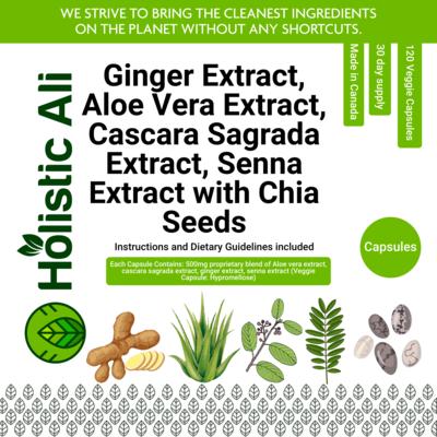 Ginger Extract, Aloe Vera Extract, Cascara Sagrada Extract, Senna Extract 120 Capsules + 226g Organic Fair Trade Chia Seeds FREE