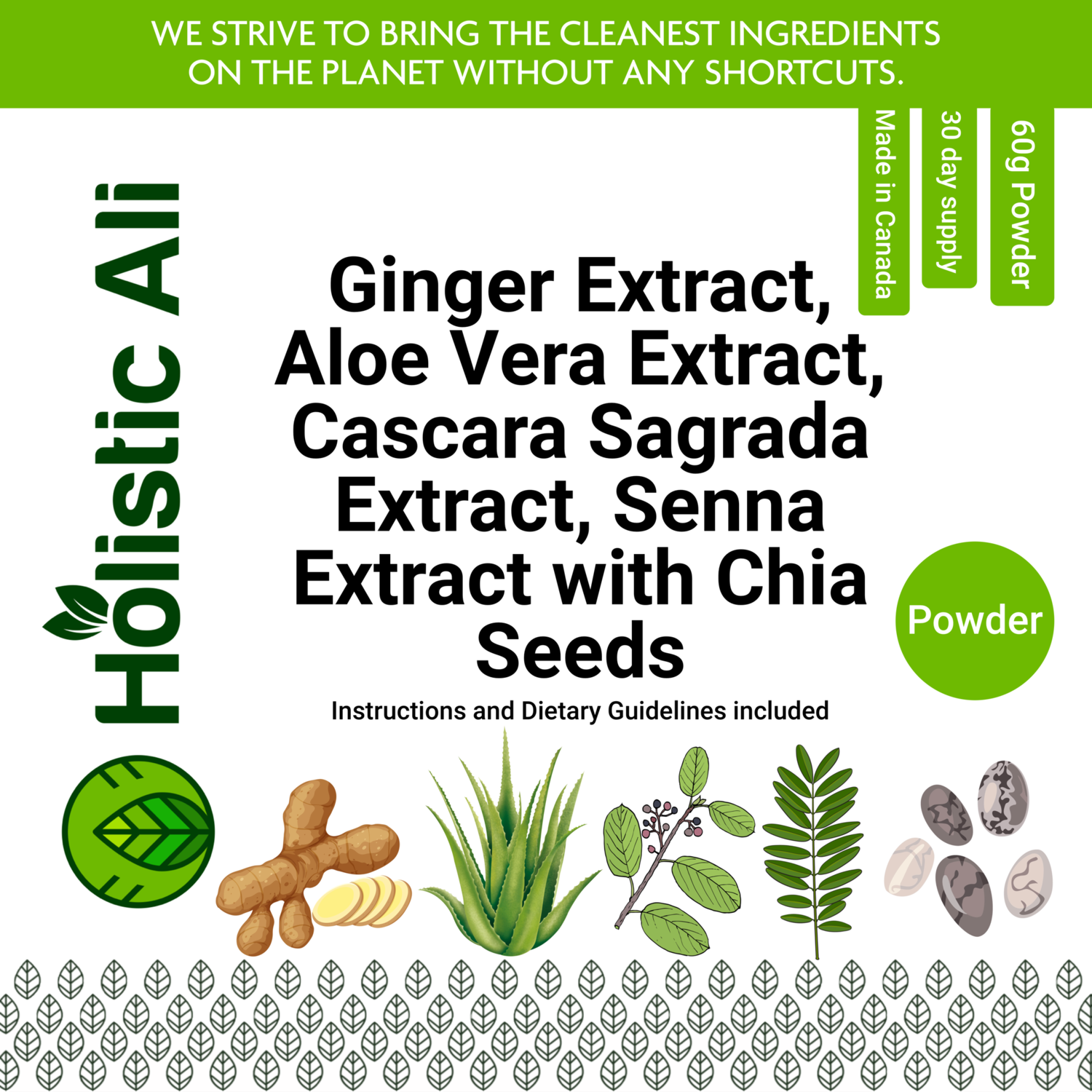 Ginger Extract, Aloe Vera Extract, Cascara Sagrada Extract, Senna Extract 60g + 226g Organic Fair Trade Chia Seeds FREE
