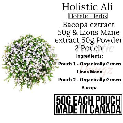 Bacopa Extract 50g & Lions Mane Mushroom 50% Extract 50g 2 pouch deal