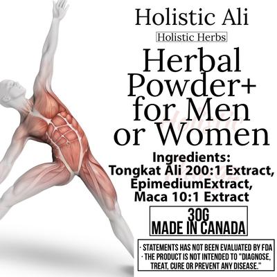 Herbal Powder for Men and Women Blend - Tongkat Ali 200:1, and mixed Maca 0.6% Extract, Epimedium Extra Strength 30g