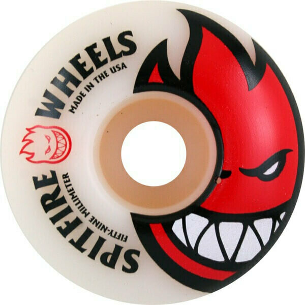 Spitfire Wheels Bighead White / Red Skateboard Wheels - 52mm 99a