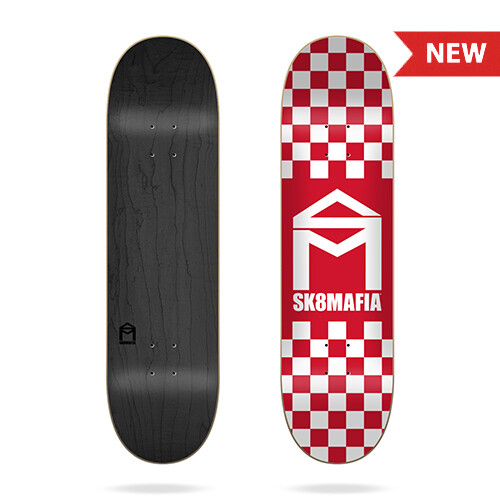 "House Logo Checker Red 8.25""x32.12"" Sk8Mafia Deck"
