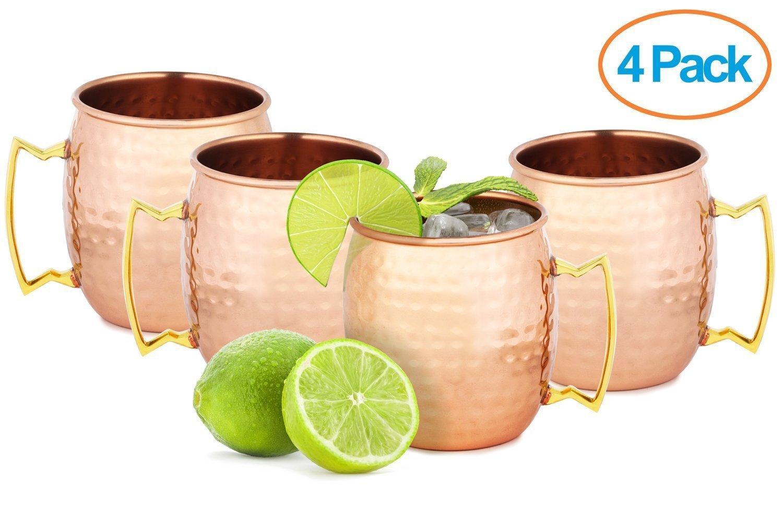 Set Of 4 Handmade Hammered Copper Moscow Mule Mug
