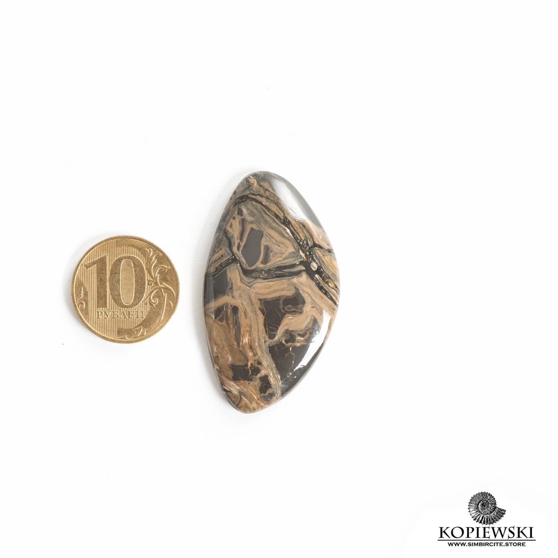 Кабошон из сенгилита 50*27*5 мм