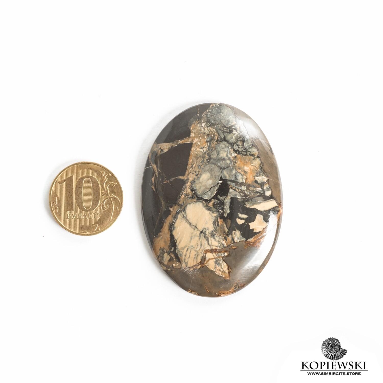 Кабошон из сенгилита 60*40*5 мм
