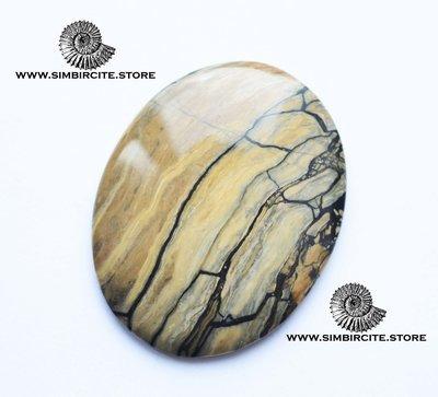 Кабошон из сенгилита 50*40*5 мм