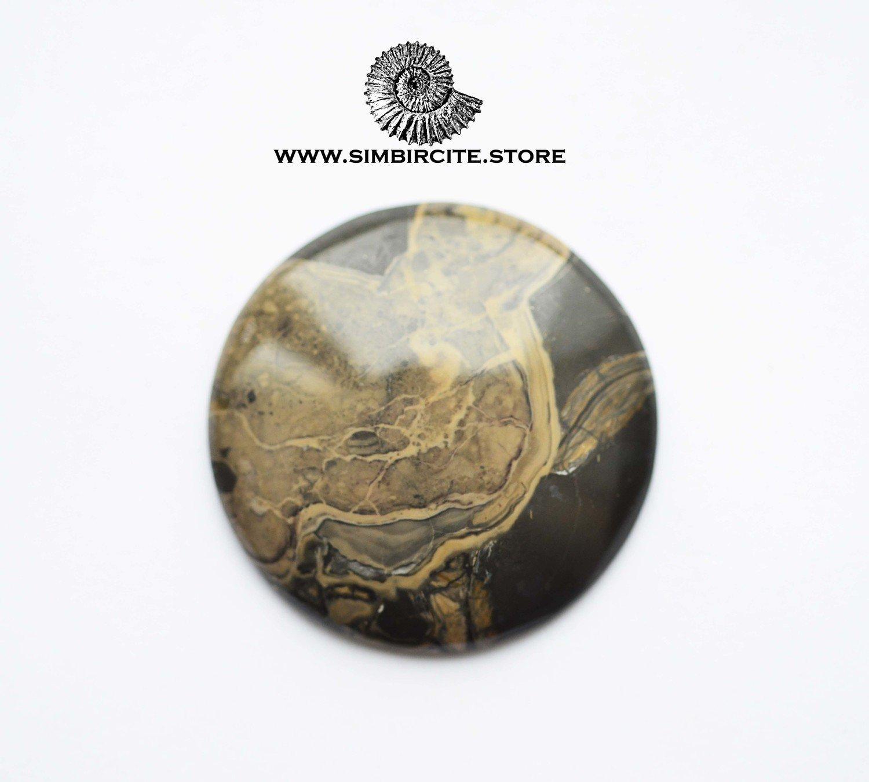 Кабошон из сенгилита d9*4 мм