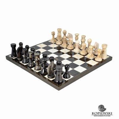 Шахматы из двух видов окаменелого дерева.