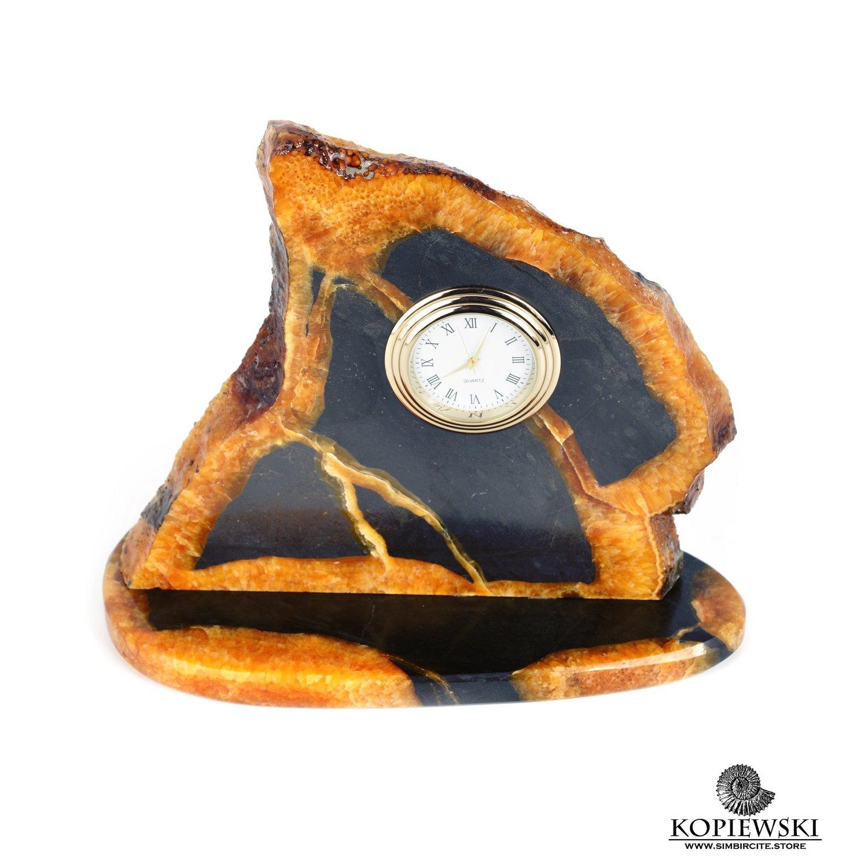 Часы срез симбирцита 15 x 14 cm