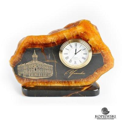 Часы срез симбирцита с гравировкой 18*13 см