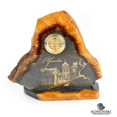 Часы срез симбирцита с гравировкой 19*11 см
