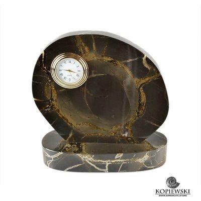 Часы срез окаменелого дерева 15*15 см