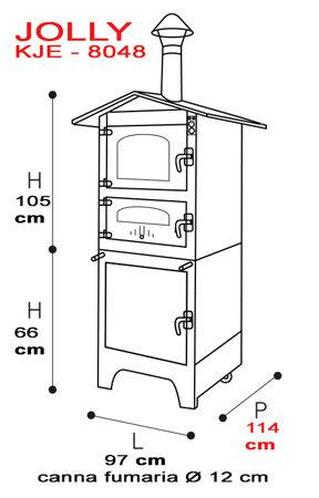 forno da esterno serie  JOLLY KJE 8048 -piano cottura: 80 x 48 h42 - Tranquilli Forni