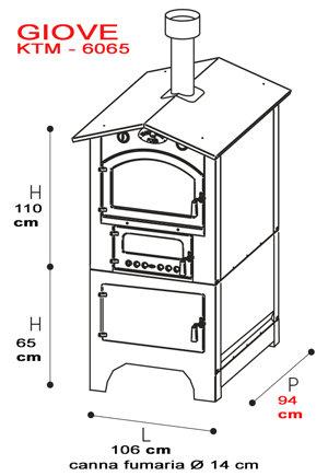 forno da esterno serie GIOVE KTM 8065 - piano cottura: 80 x 65 h44 - Tranquilli Forni