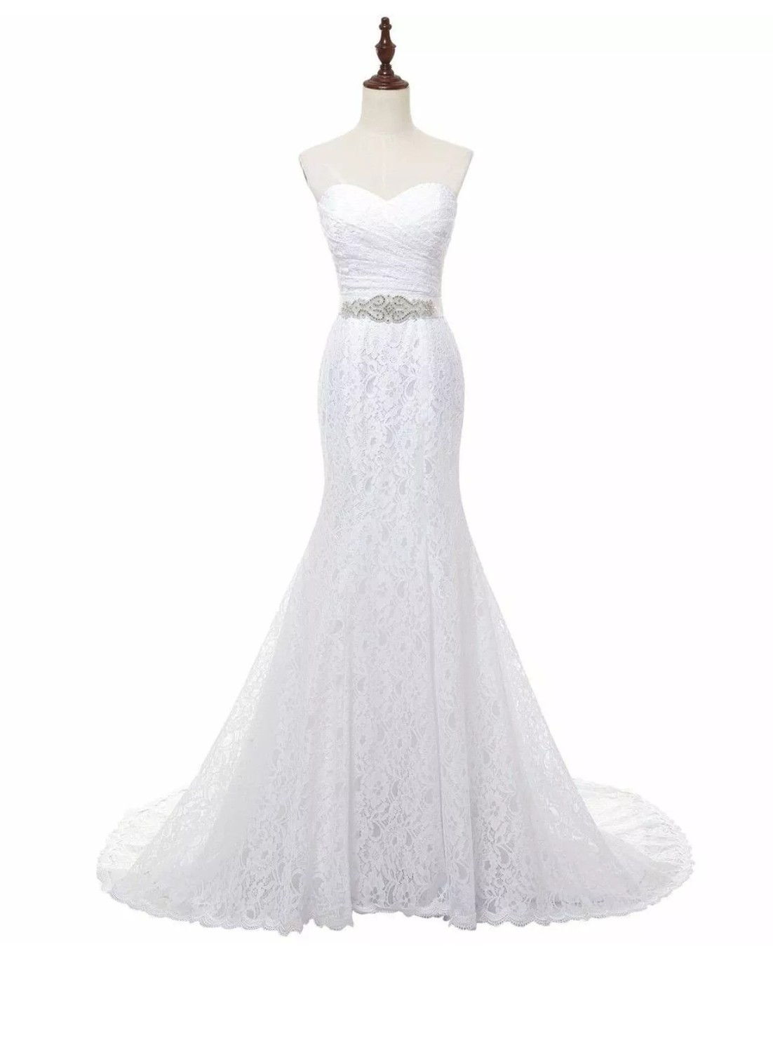 Bridal Wedding Gown Real Photos White Lace Mermaid Wedding Dress Train Vintage Sash 9 COLORS Customized 2-22W