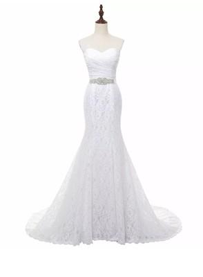 Bridal Wedding Gown Real Photos White Lace Mermaid Wedding Dress Train Vintage Sash 9 COLORS Customized 2-22W