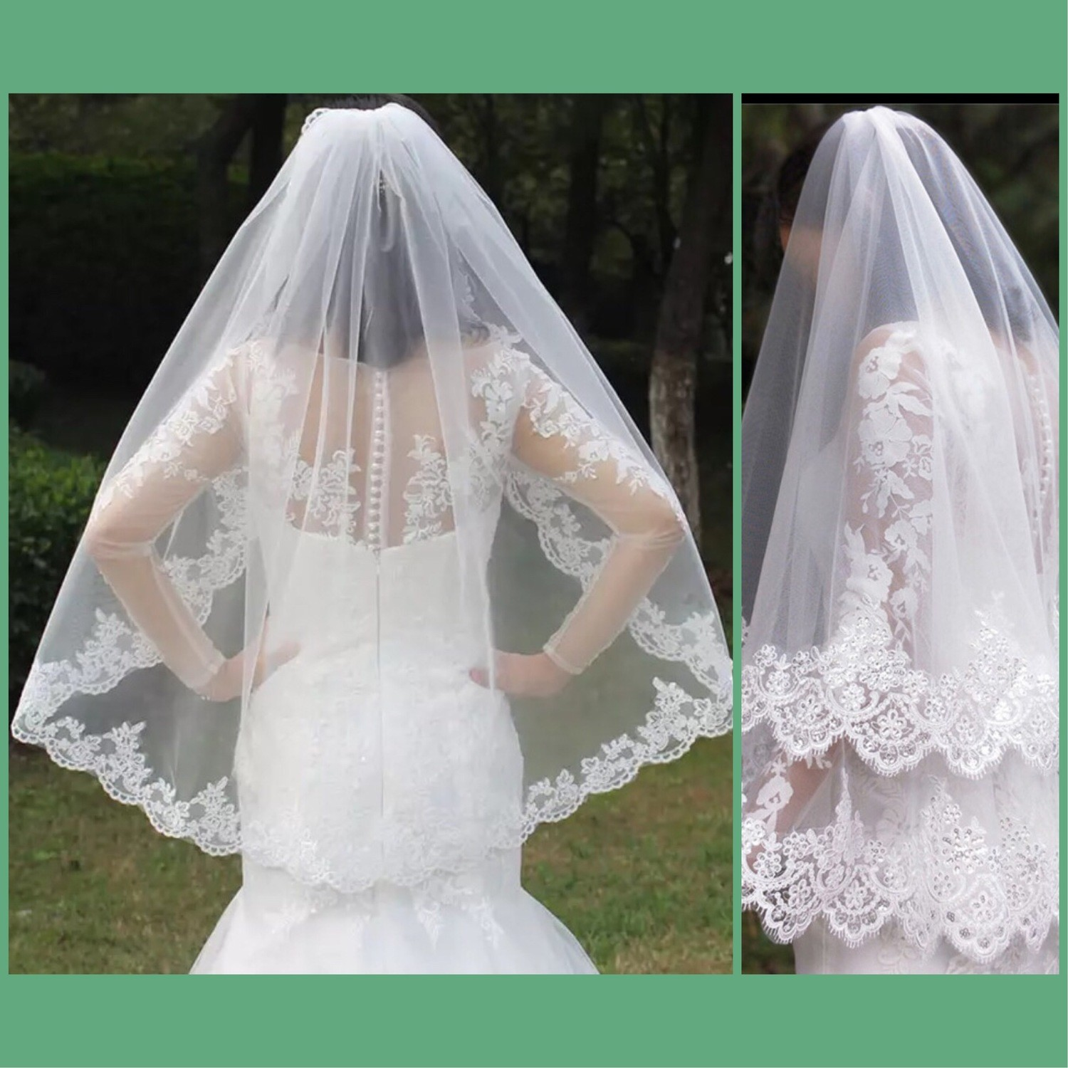 One 1T two Layer 2T Lace Appliques Edge Short Woodland Wedding Veils with Comb New White Ivory Bridal Veils