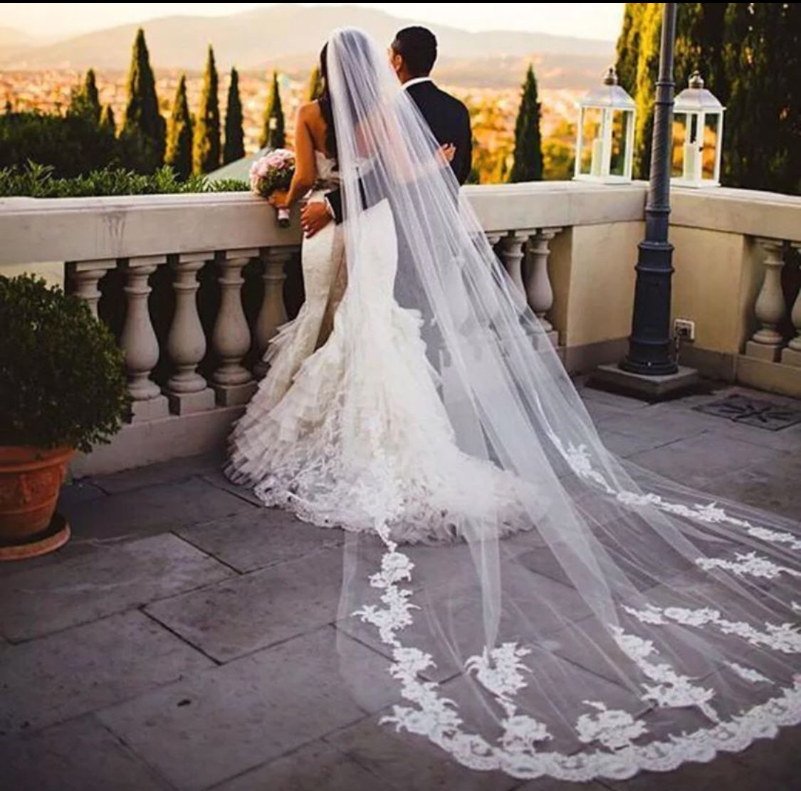 NEW White/ivory/black 3M/10 ft Cathedral veil