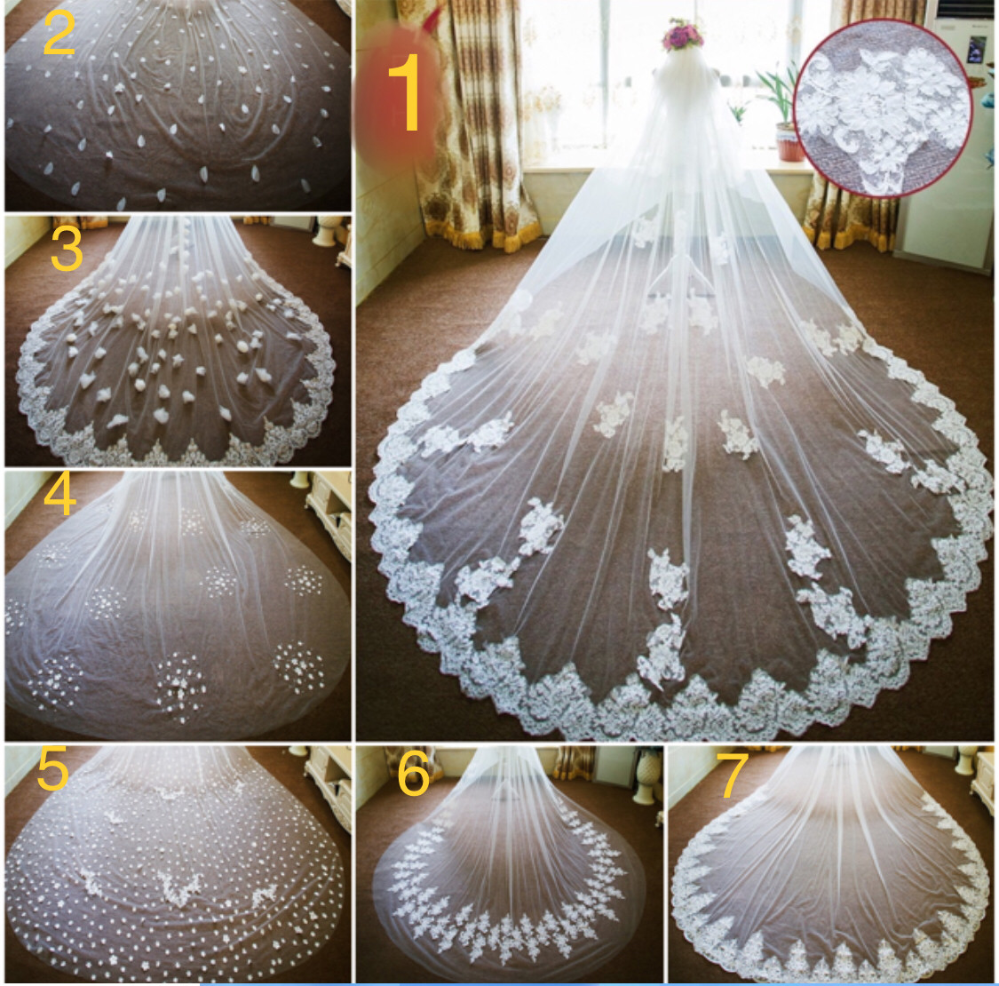 White/Ivory 3.8m 2T/ Two layer Cathedral lace appliqué  wedding veil 7 styles