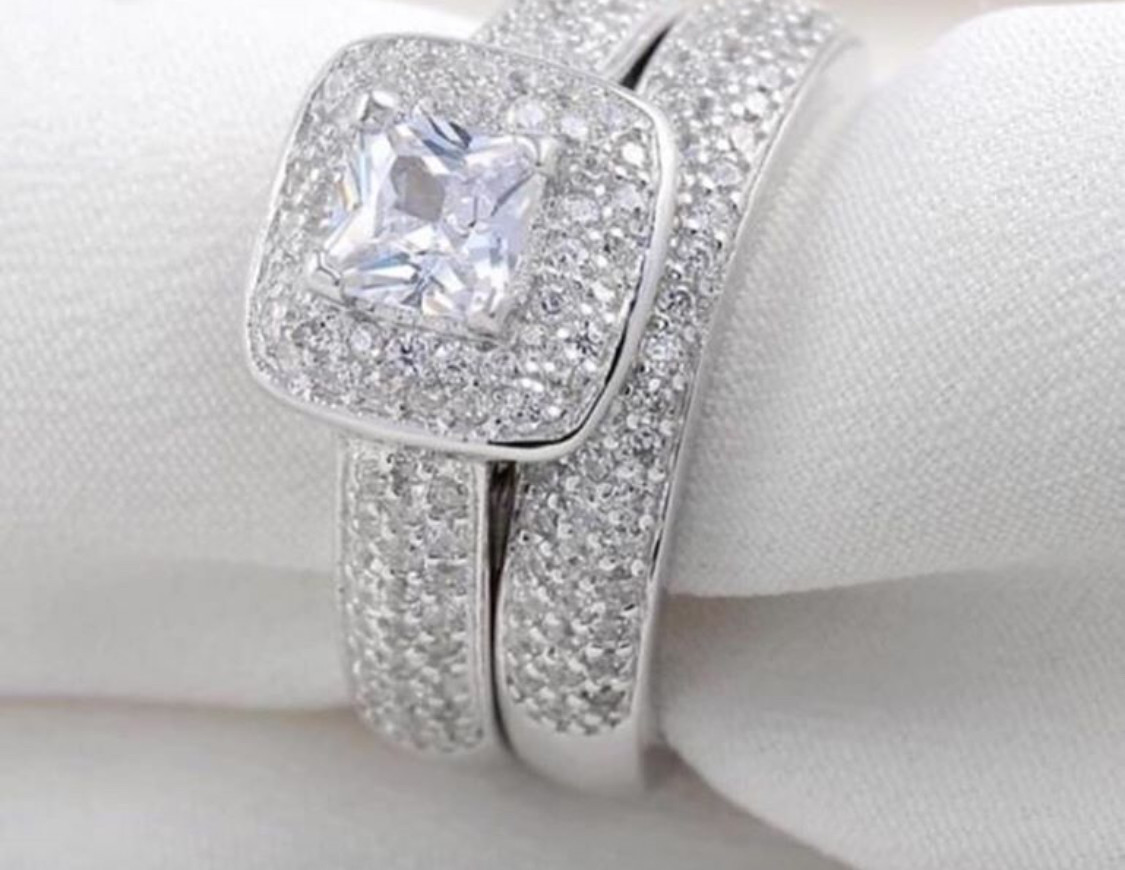 2.8Ct Princess Cut Cz Wedding Engagement Ring Set Stamped 925 Sterling silver NON-TARNISHING