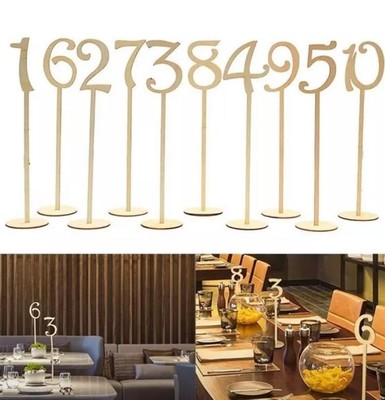 Wooden table numbers with base 1-10 or 1-20