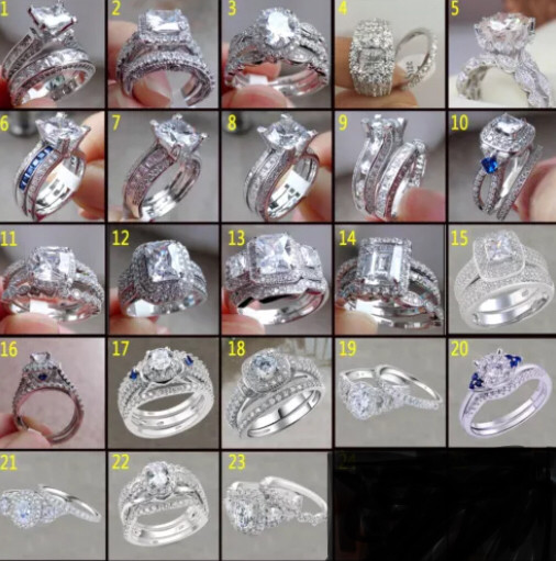 Stamped 925 Sterling silver wedding set sizes 5-10. Won't turn green!