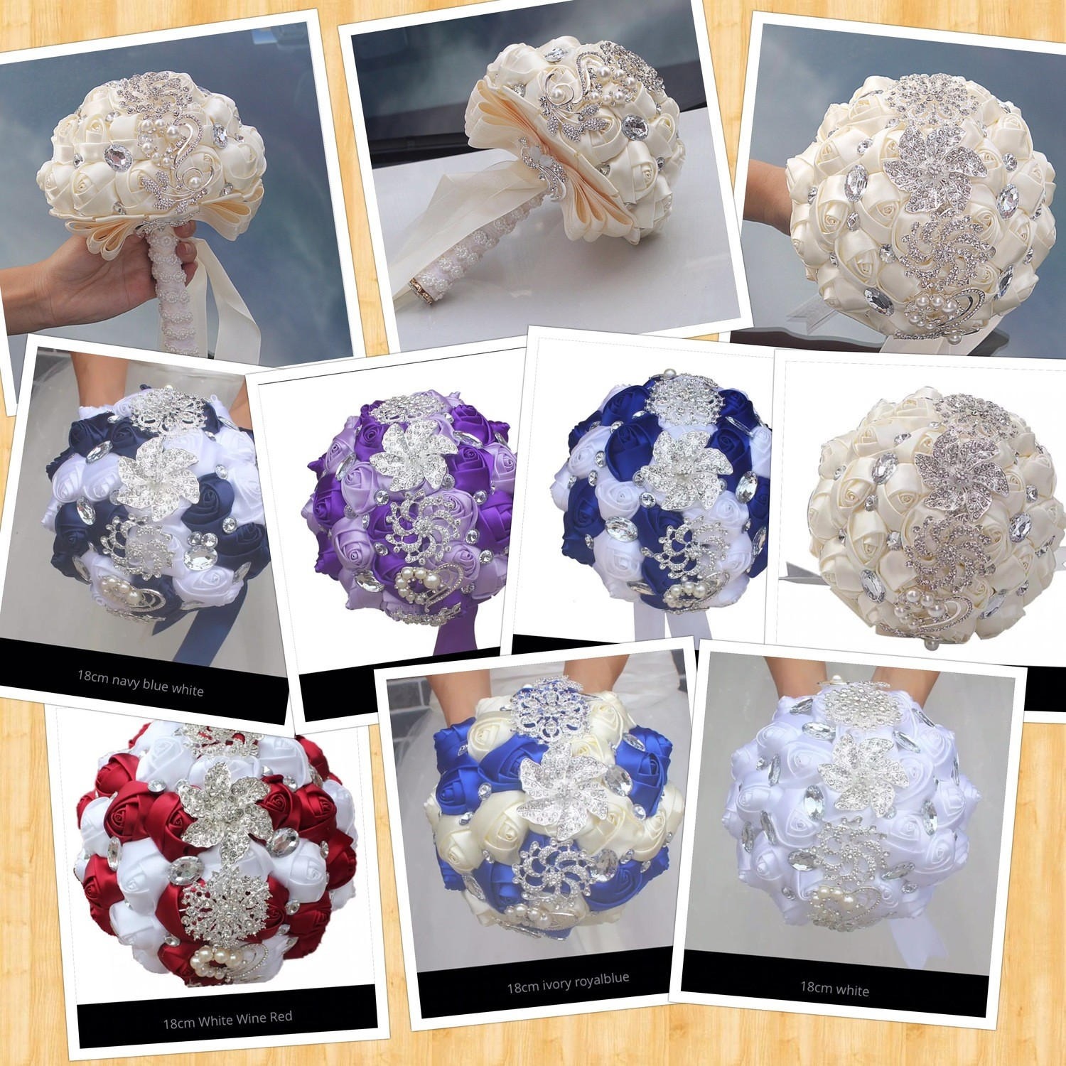 Artificial Satin Hand made Rhinestone Bridal Wedding Bouquet. 11 color choices or customized
