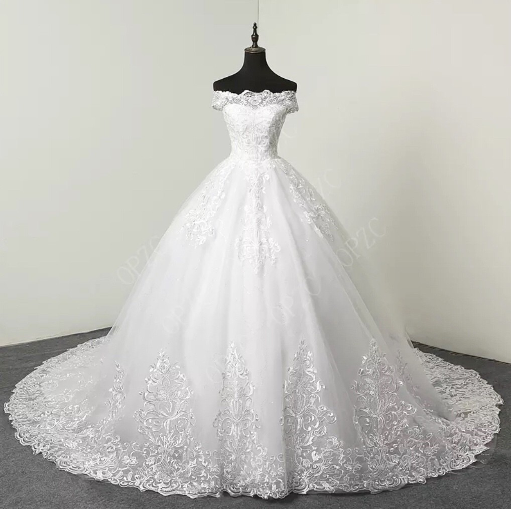 White/Ivory 100cm Long Train Sweetheart Sz 2-28W Plus size Wedding gown