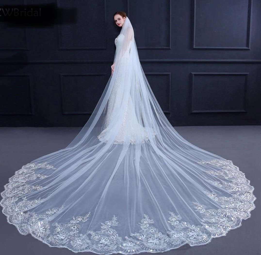 White or ivory 3 M/10 ft or 4M/13 ft cathedral wedding veil with comb