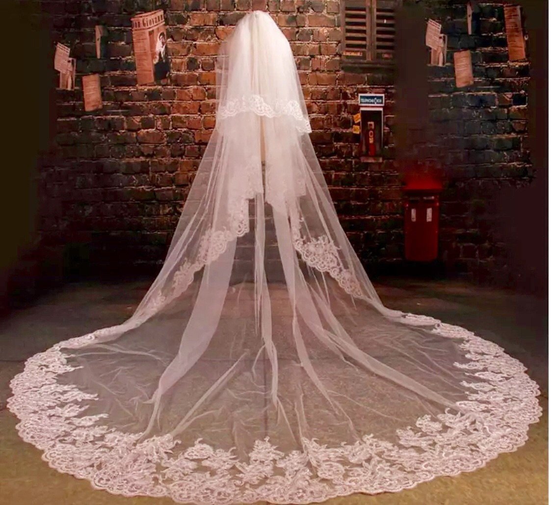 White or Ivory 3m, 4m, 5m cathedral 2T veil