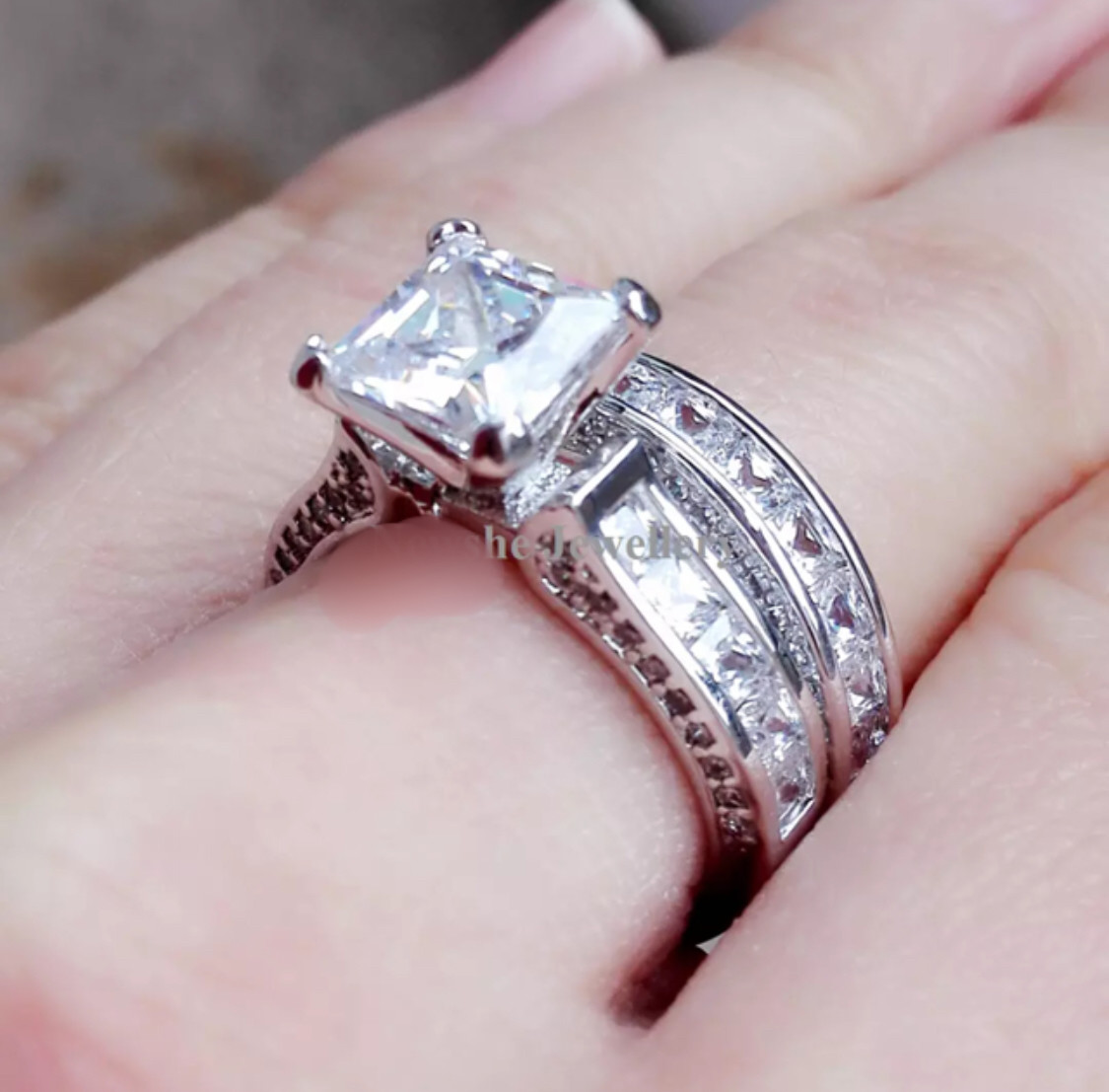 Solid 925 Sterling silver wedding set sizes 5-10