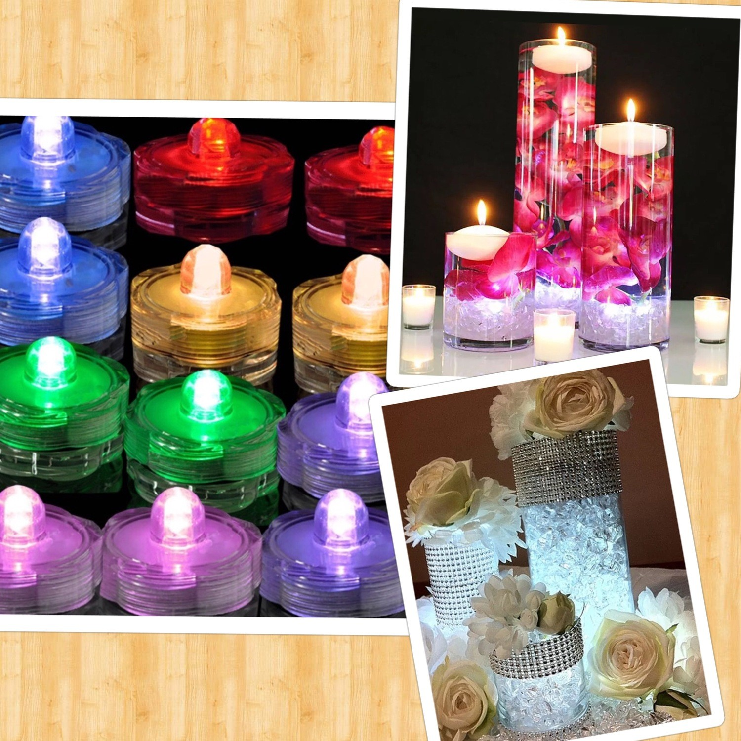 5 10 20 30 Bright Submersible LED Floral Tea Light Vase Party Wedding Waterproof