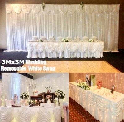 10x10  wedding background curtain draping removable swag.  With or without Curtain lights and stand.