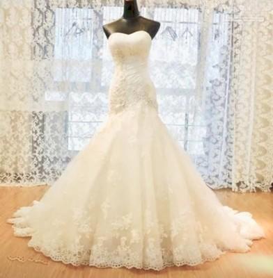 White or ivory mermaid wedding dress sizes 4-16 W or customized