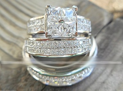 His & Hers 3pc Bridal Set Matching .925 Sterling Silver White Gold Set