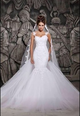 White/Ivory Lace mermaid wedding dress detachable train  Size 2-16 or CUSTOMIZE