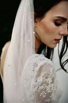 White/Ivory Bridal Veil With Comb One Layer Cathedral Royal Pearl Wedding Veil $42-$80 2.5ft-19.5ft